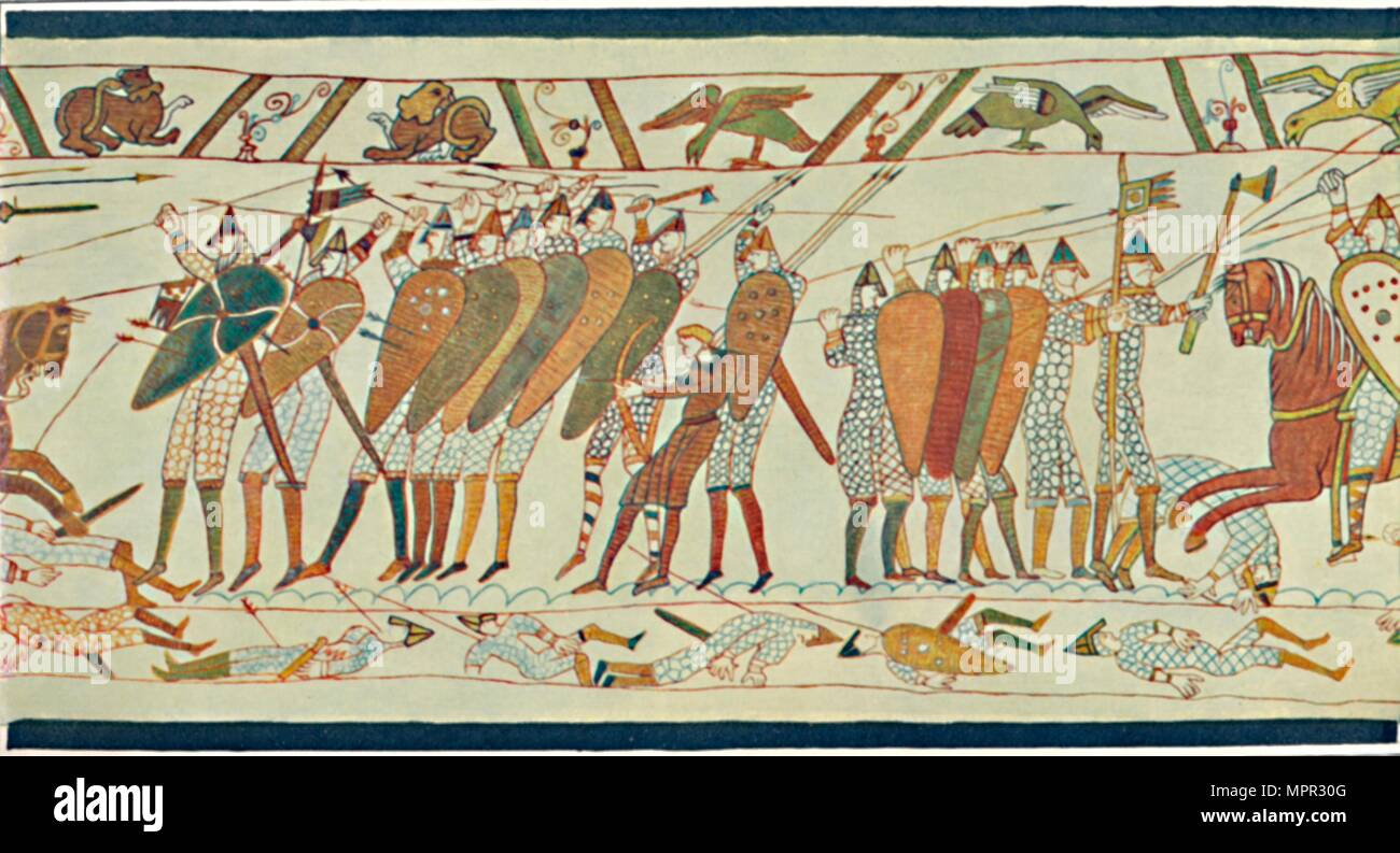 'The Beginning of the Battle of Senlac (Bayeux Tapestry)', c15th century, (1902). Artist: Unknown. - Stock Image