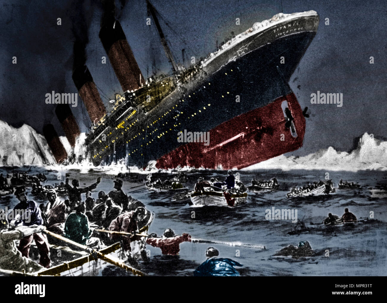 The sinking of SS Titanic, 14 April 1912. Artist: Unknown. - Stock Image