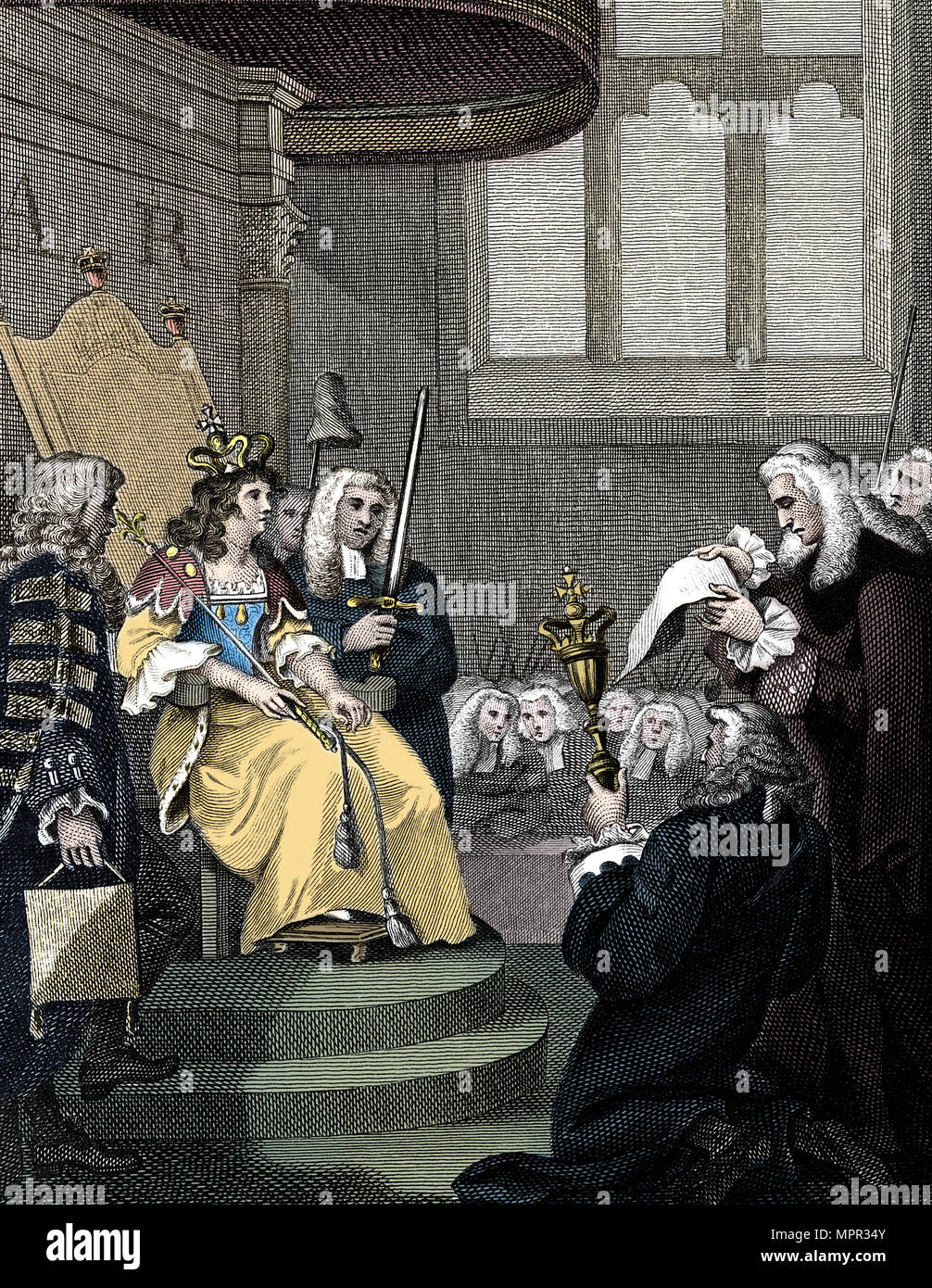 The Act of Union between England and Scotland being read before Queen Anne, 1826. Artist: Unknown. - Stock Image