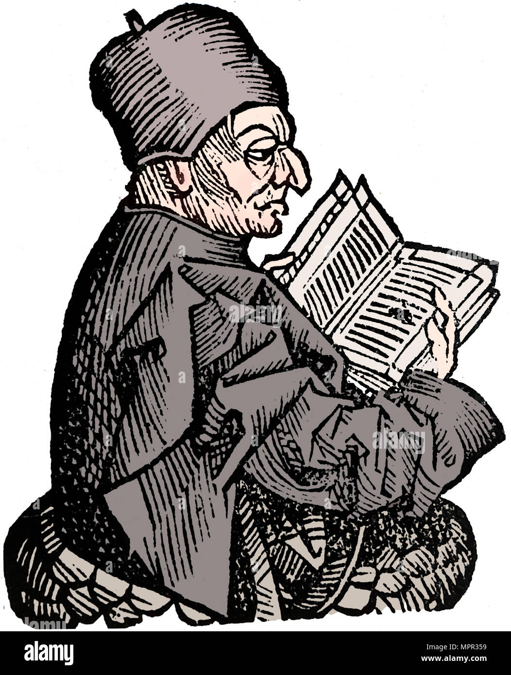 The Venerable Bede (c673-735), Anglo-Saxon theologian, scholar and historian, 1493. Artist: Unknown. - Stock Image