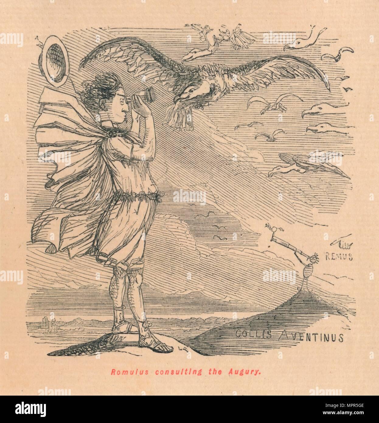 'Romulus consulting the Augury', 1852. Artist: John Leech. - Stock Image