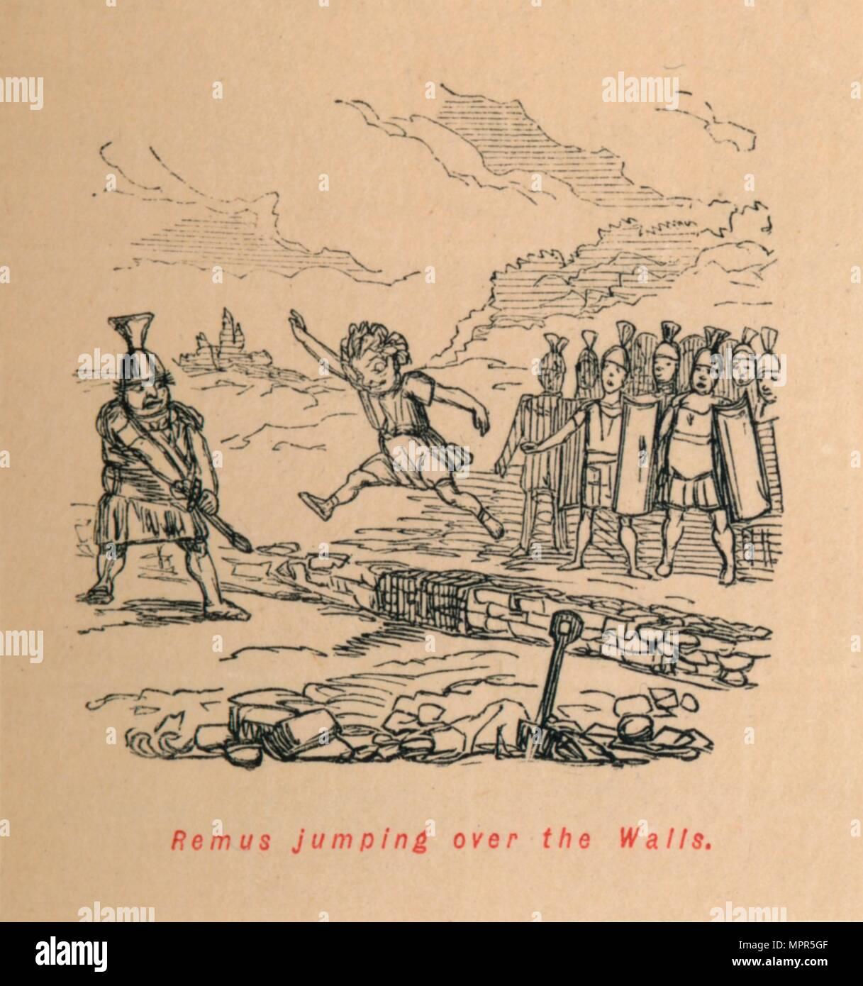 'Remus jumping over the Walls', 1852. Artist: John Leech. - Stock Image