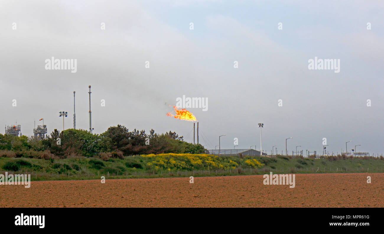 Natural gas being flared off through vent stacks at the Bacton Natural Gas Terminal, Norfolk, England, United Kingdom, Europe. - Stock Image