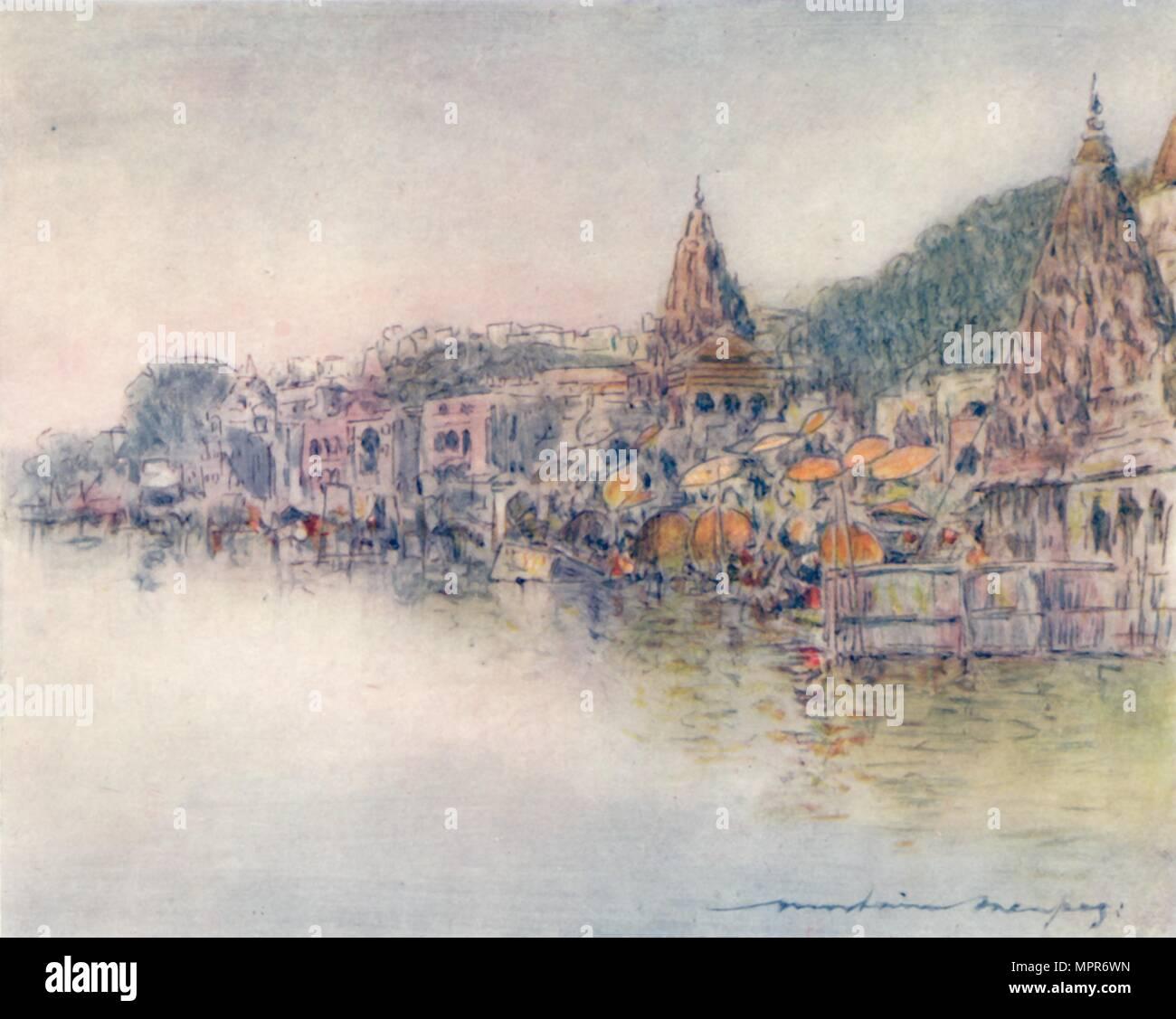 'On the Banks of Holy River, Benares', 1905. Artist: Mortimer Luddington Menpes. - Stock Image