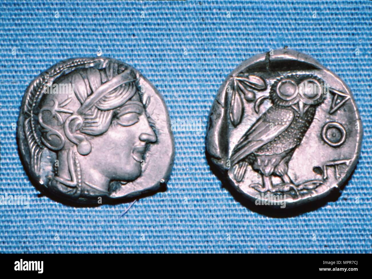 Tetradrachm, Greek Coin, Silver Head of Athena and Owl, mid to late 5th century BC. Artist: Unknown. - Stock Image