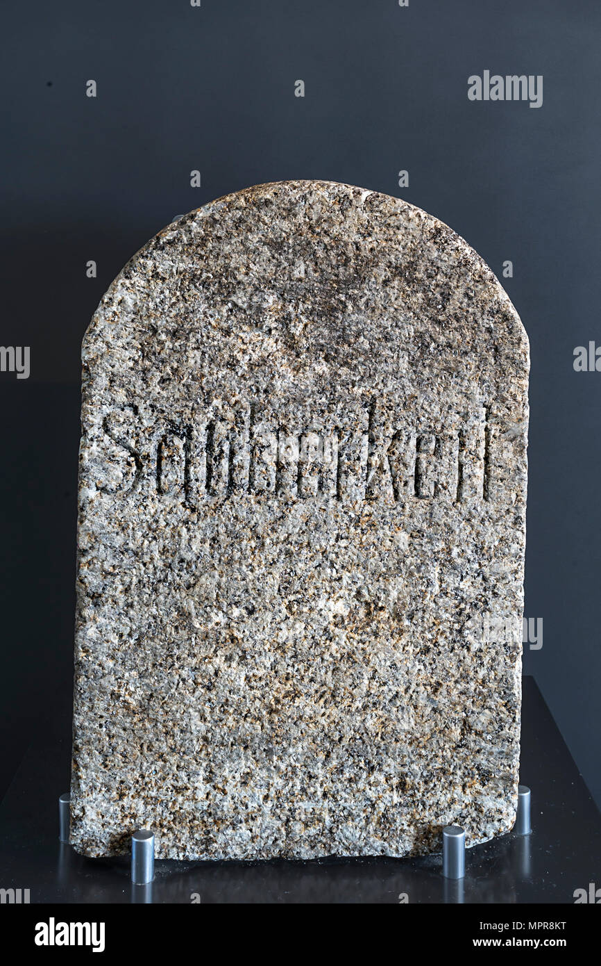 Granite stone with the inscription Cleanliness, exhibition room in the concentration camp memorial Flossenbürg, Flossenbürg - Stock Image