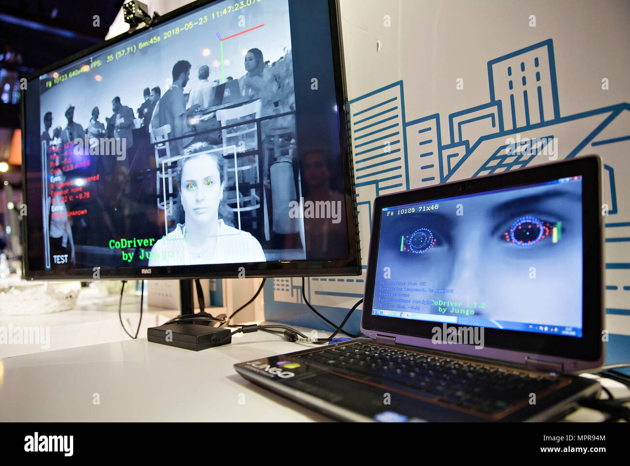 A new technology in driving safety, occupancy and driver monitoring, was presented during discussion panel Ecomotion in Tel Aviv, Israel, on May 23, 2018.  (CTK Photo/Rene Fluger) - Stock Image
