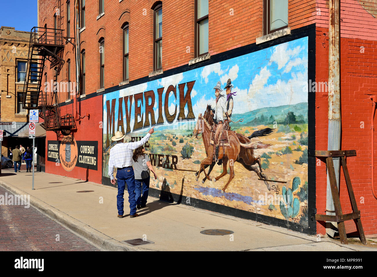 Advertising For Western Clothing Wall Painting With Cowboys On