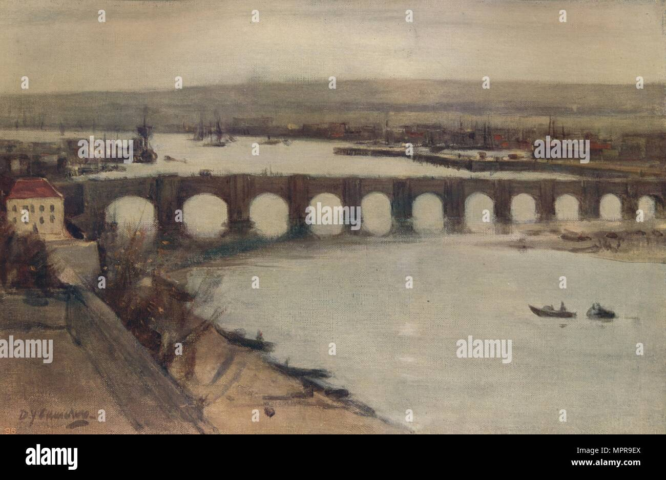 'Berwick Bridge', c1912, (c1915). Artist: David Young Cameron. - Stock Image