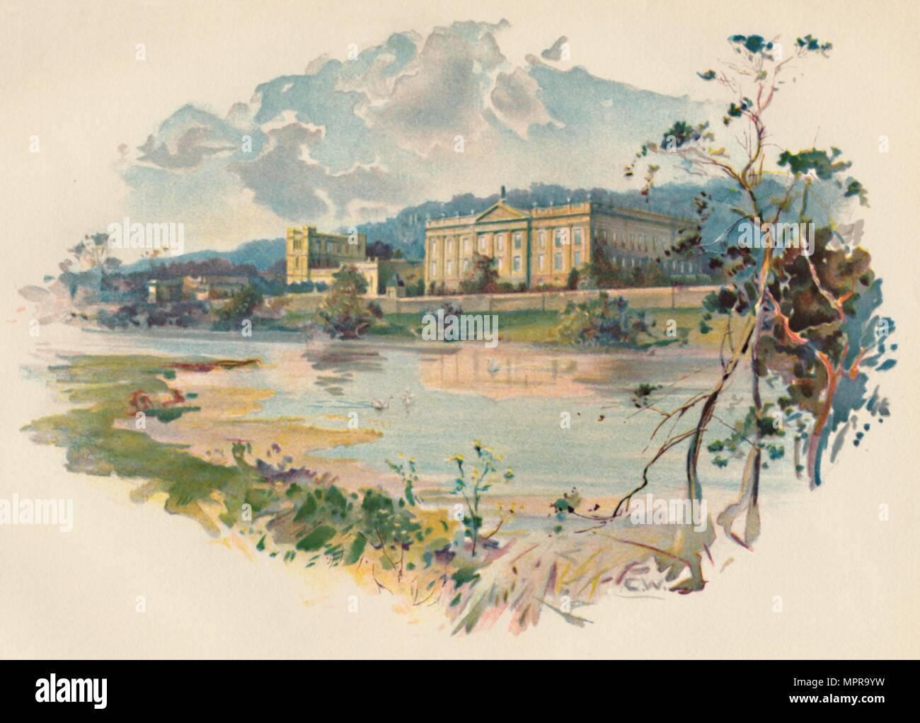 'Chatsworth from the Derwent', c1890. Artist: Charles Wilkinson. - Stock Image
