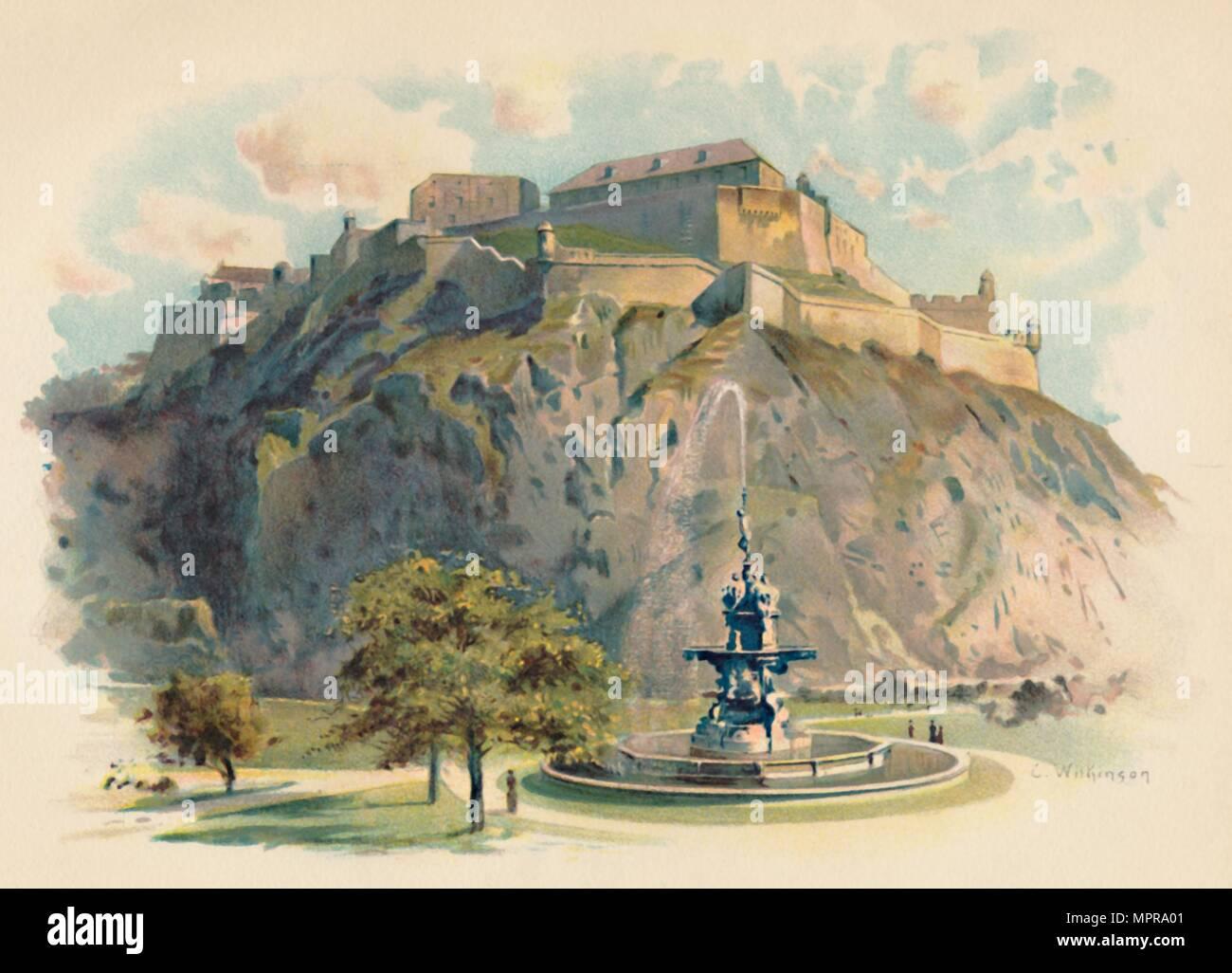 'The Castle Rock, Edinburgh', c1890. Artist: Charles Wilkinson. - Stock Image