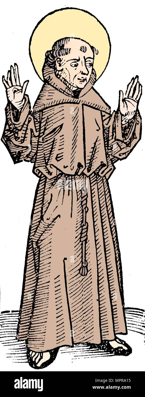 St Francis of Assisi, Italian priest and founder of the Franciscan order, 1493. Artist: Unknown. - Stock Image