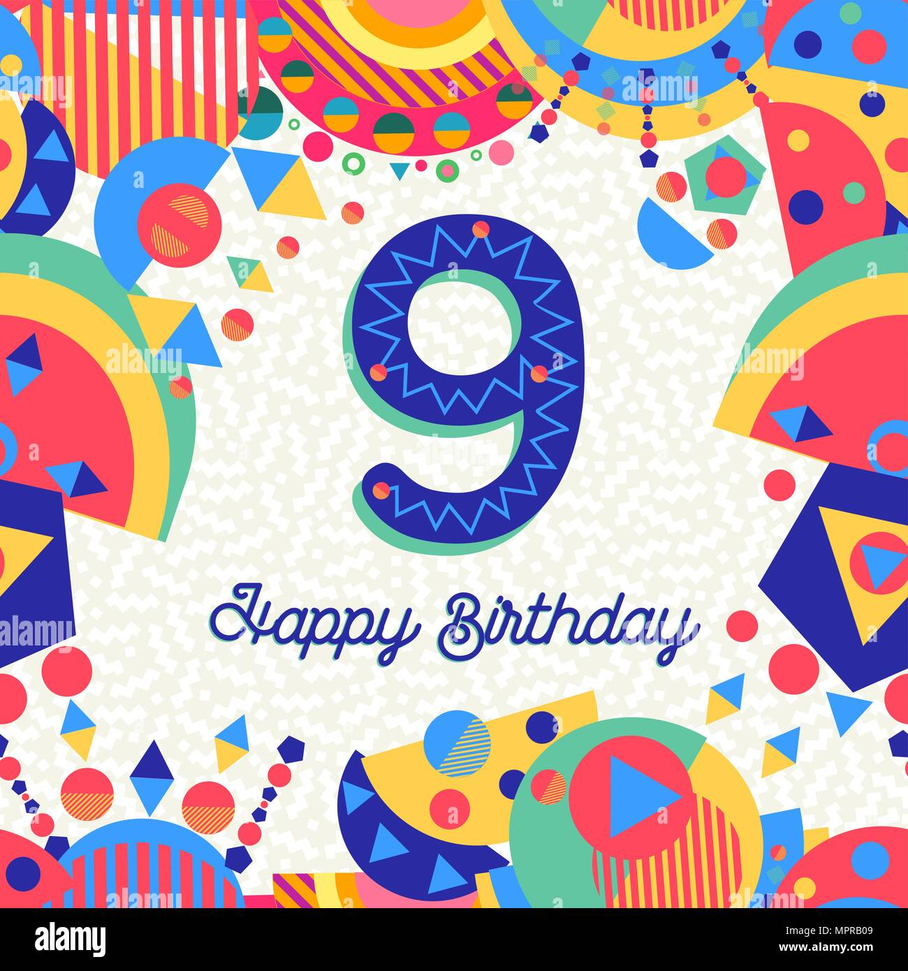Auguri Buon Compleanno 9 Anni.Happy Birthday Nine 9 Year Fun Design With Number Text