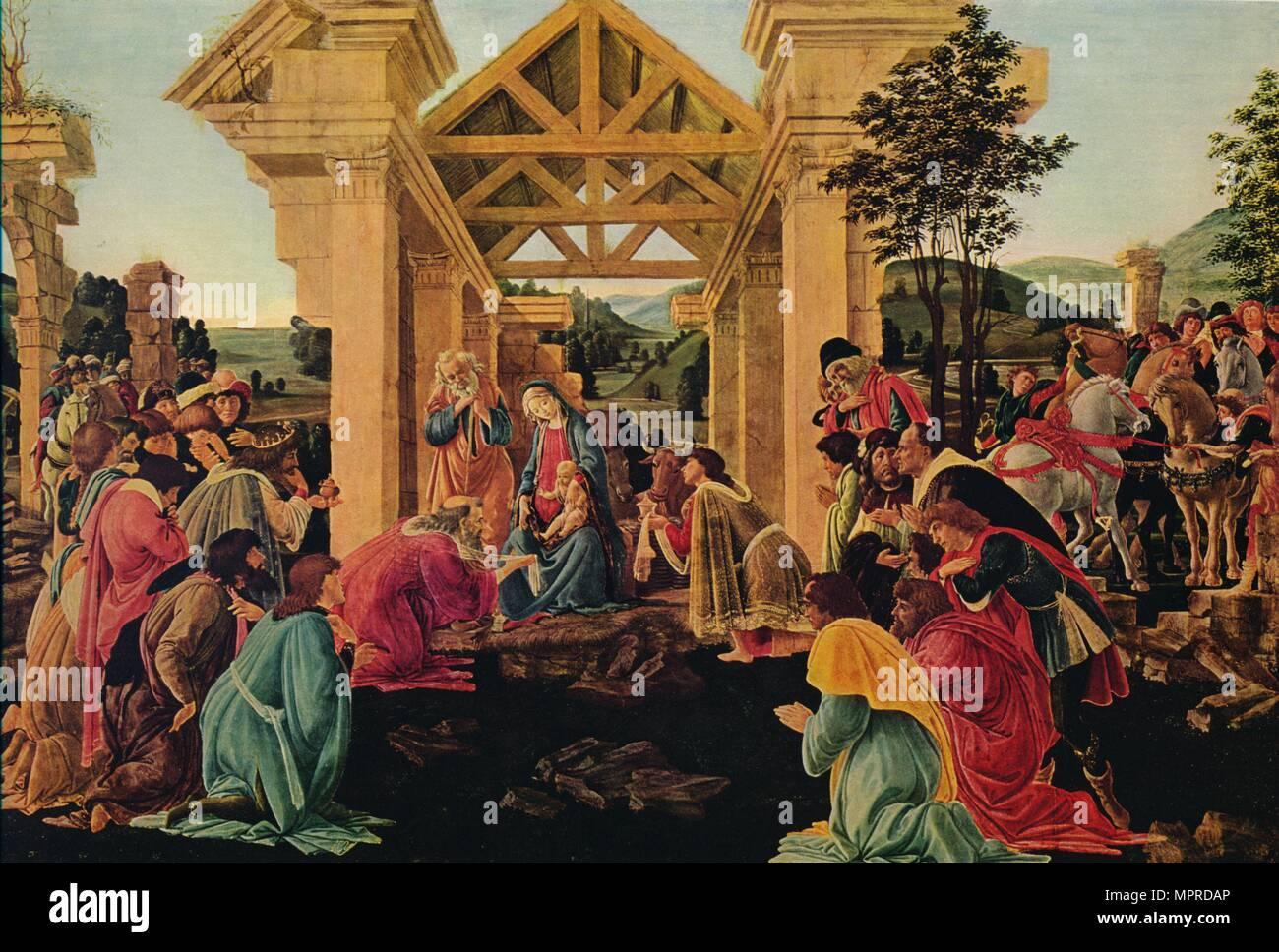 'The Adoration of the Magi', c1475-1476. Artist: Sandro Botticelli. - Stock Image