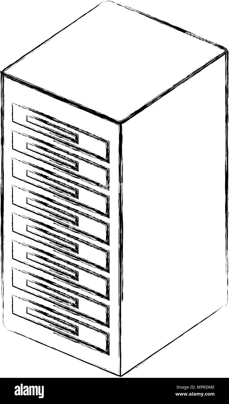 tower server isometric icon - Stock Vector