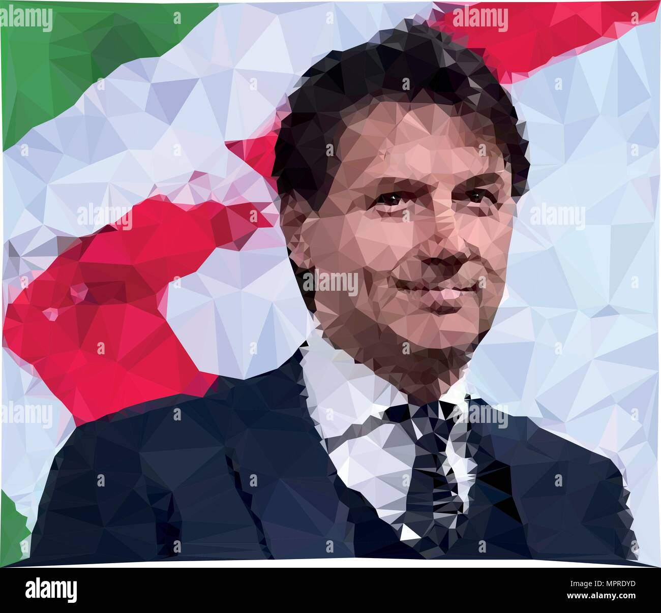 ROME, ITALY, MAY 2018: Giuseppe Conte, new italian President of the government, vector illustration, polygonal graphic elaboration, editorial - Stock Image