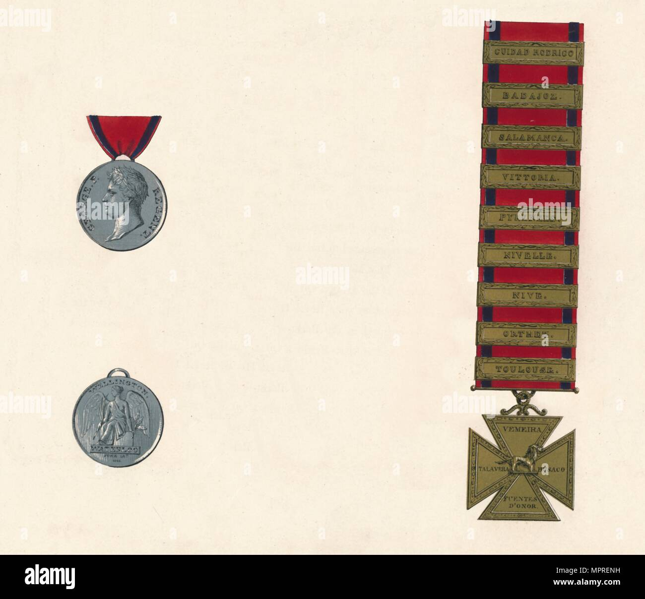 'Waterloo & Military General Service Medal 1793-1814', c19th century. Artist: Unknown. - Stock Image