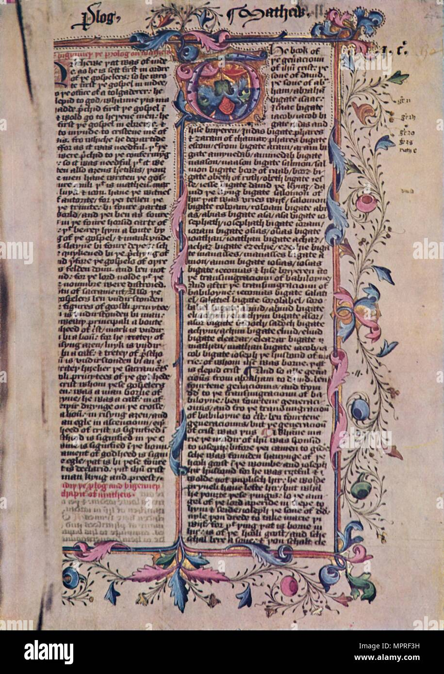 'First Page of St Matthew's Gospel', 15th century, (1947). Artist: Unknown. - Stock Image