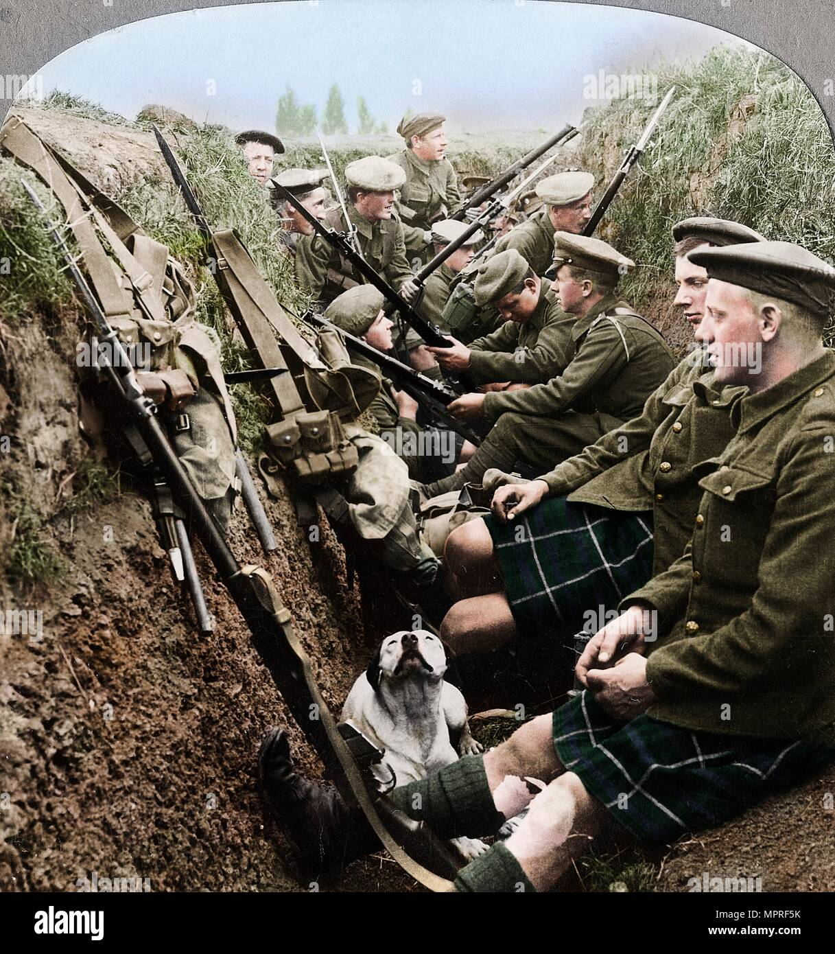 A section of Seaforth Highlanders snatching a moments respite, World War I, c1914-c1918. Artist: Realistic Travels Publishers. - Stock Image