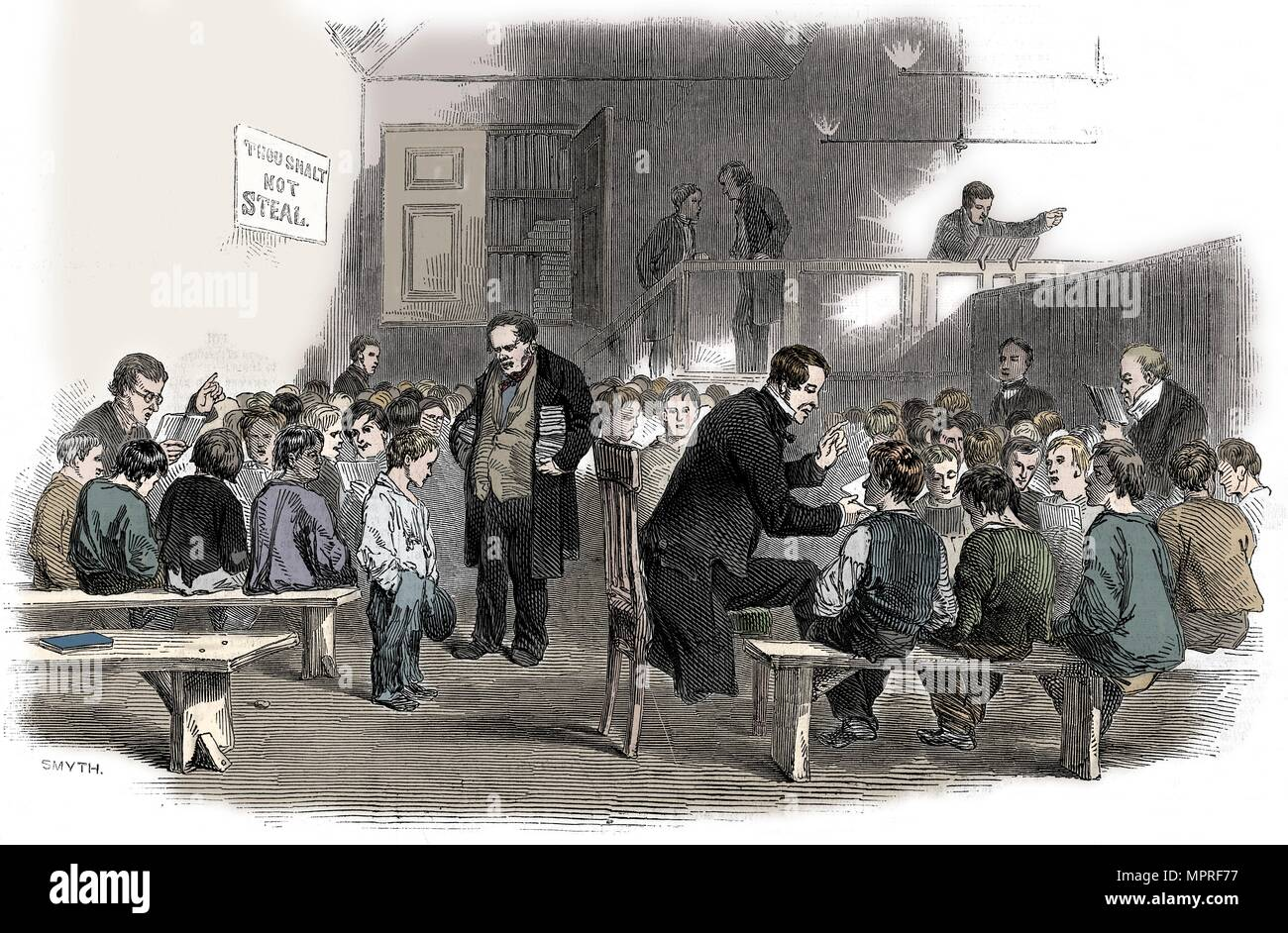 Teaching boys to read in the Ragged School Union school, Lambeth, London, 1868. Artist: Unknown. - Stock Image