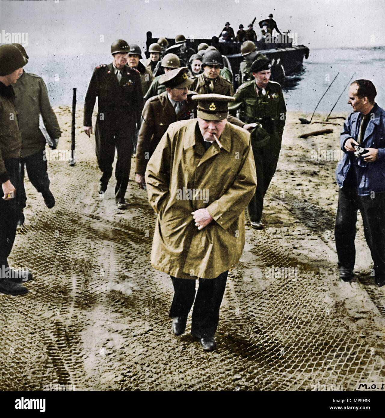 'Winston Churchill across the Rhine. Outwards into Germany! Onwards to Victory!', 1945. Artist: Unknown. - Stock Image