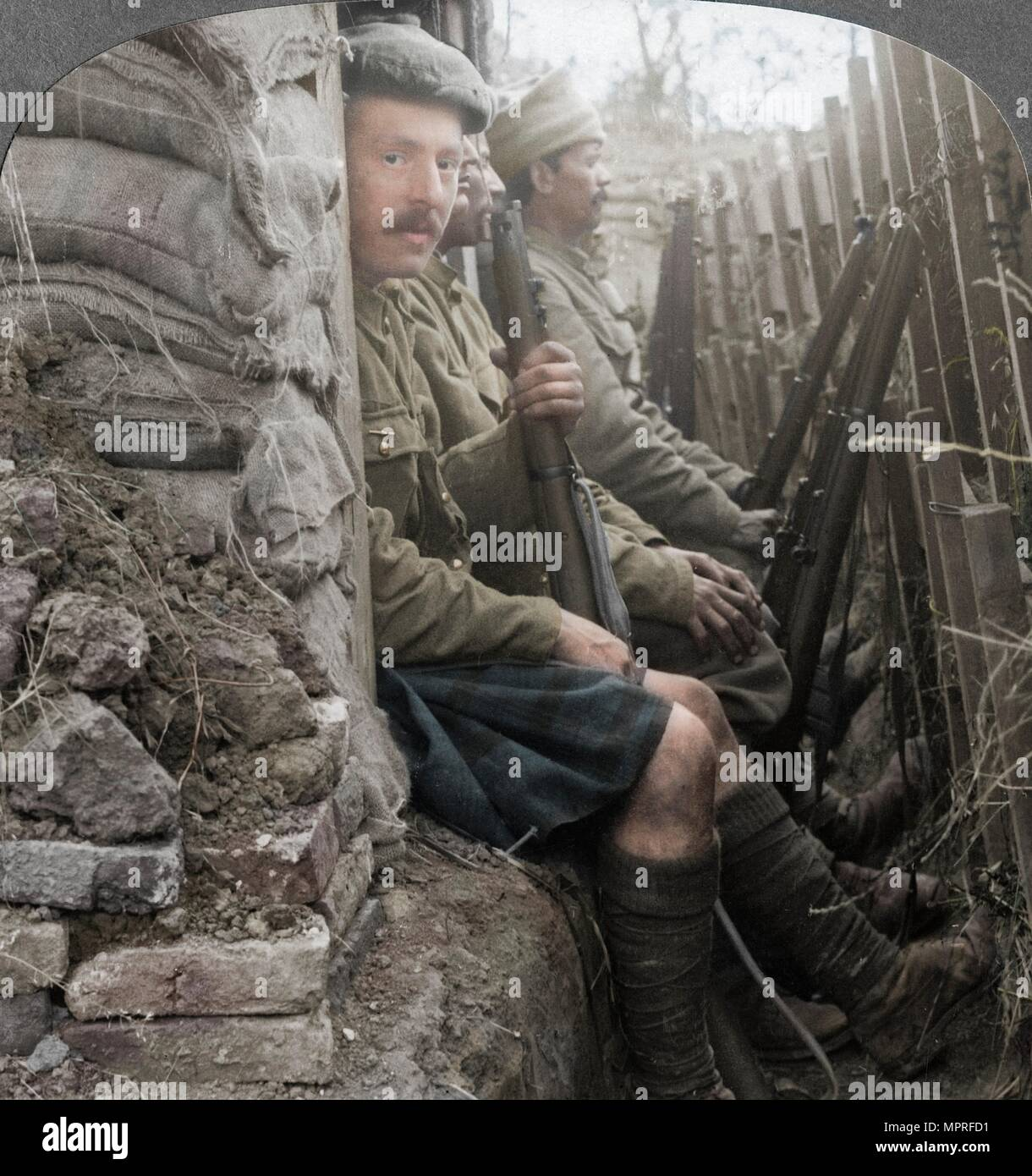 Indian soldiers in the trenches, World War I, 1914-1918. Artist: Realistic Travels Publishers. - Stock Image