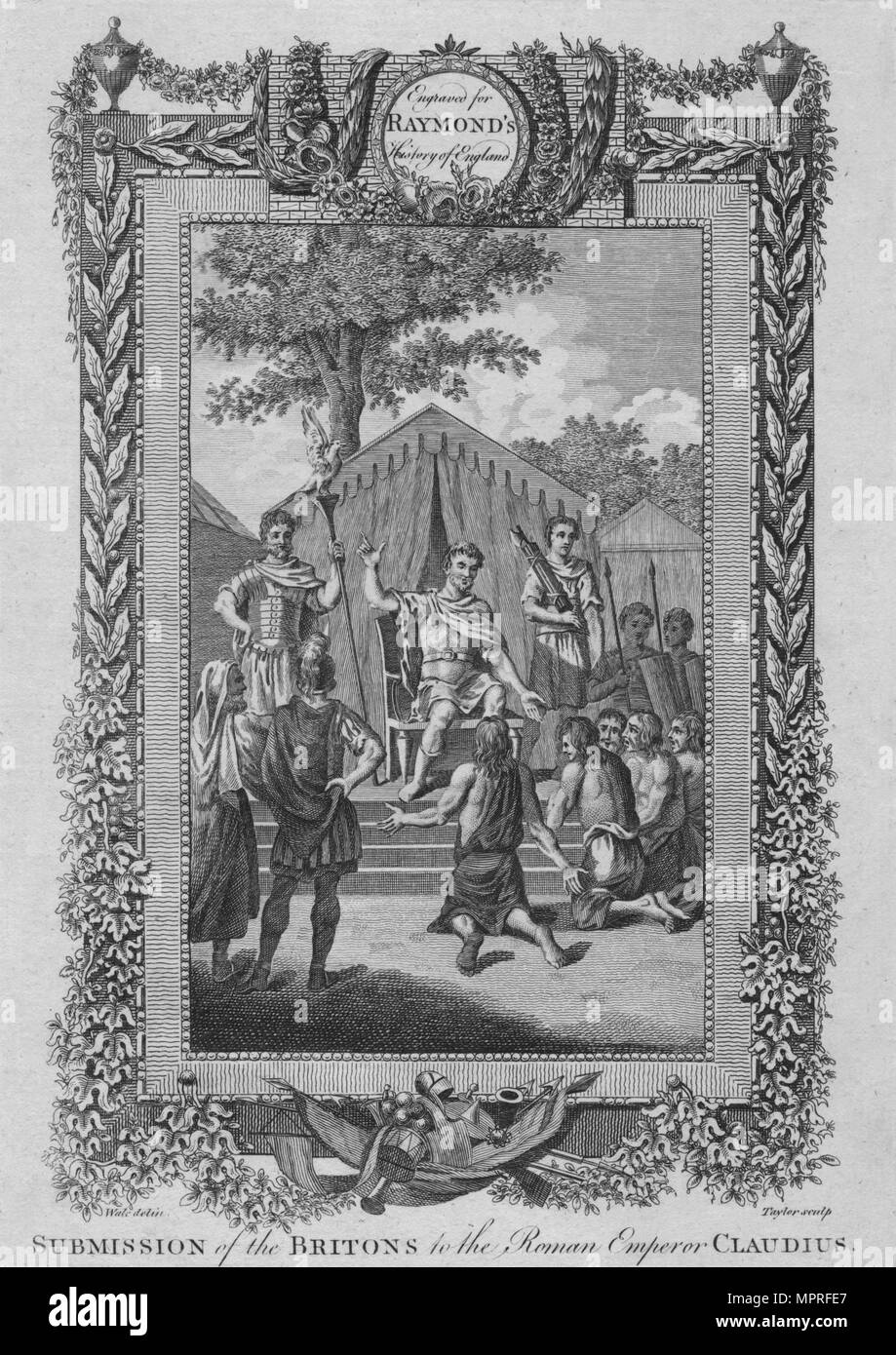 'Submission of the Britons to the Roman Emperor Claudius', c1787. Artist: Unknown. - Stock Image