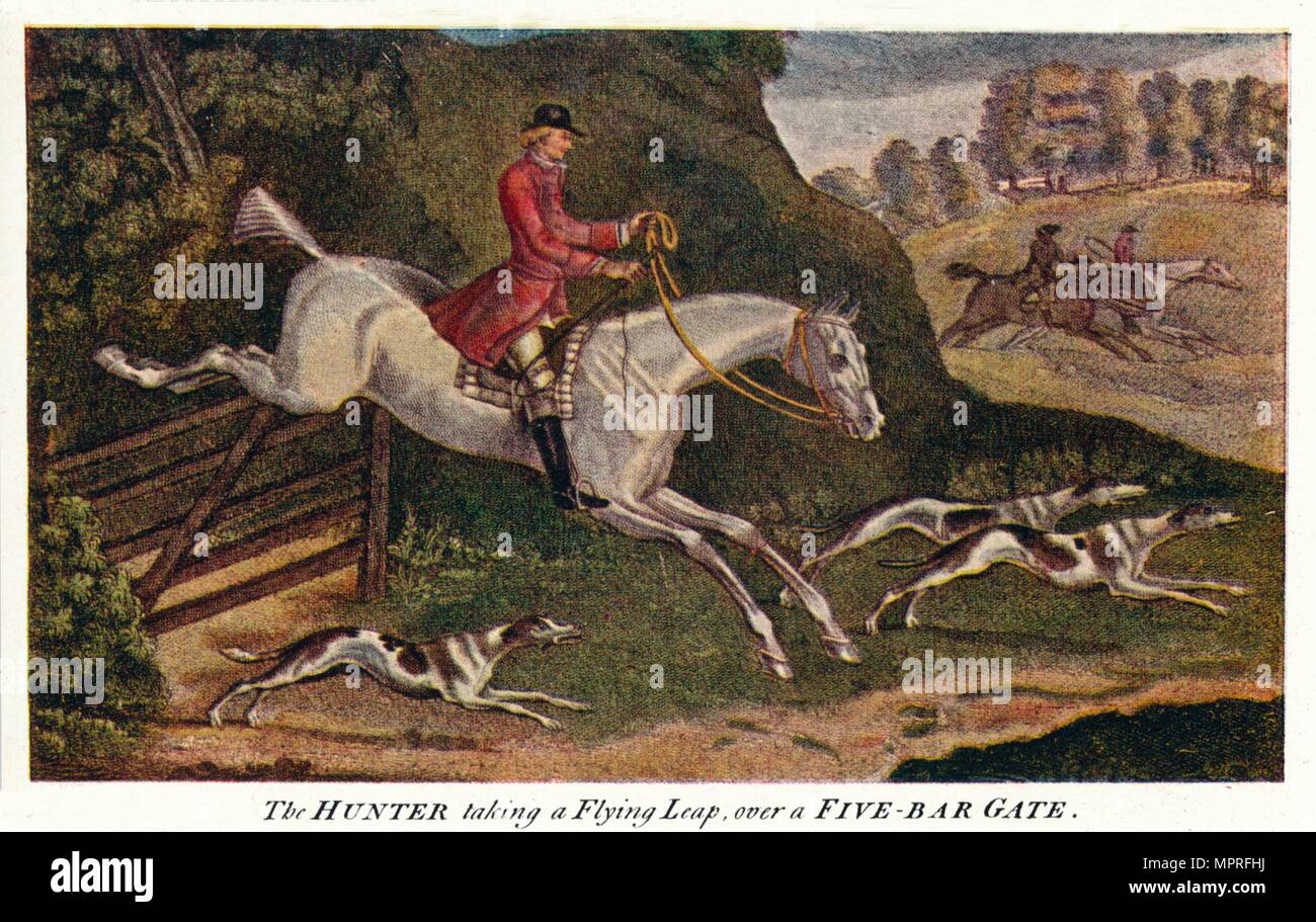 'The HUNTER taking a Flying Leap, over a Five-Bar Gate', c1740, (1922). Artist: James Seymour. - Stock Image