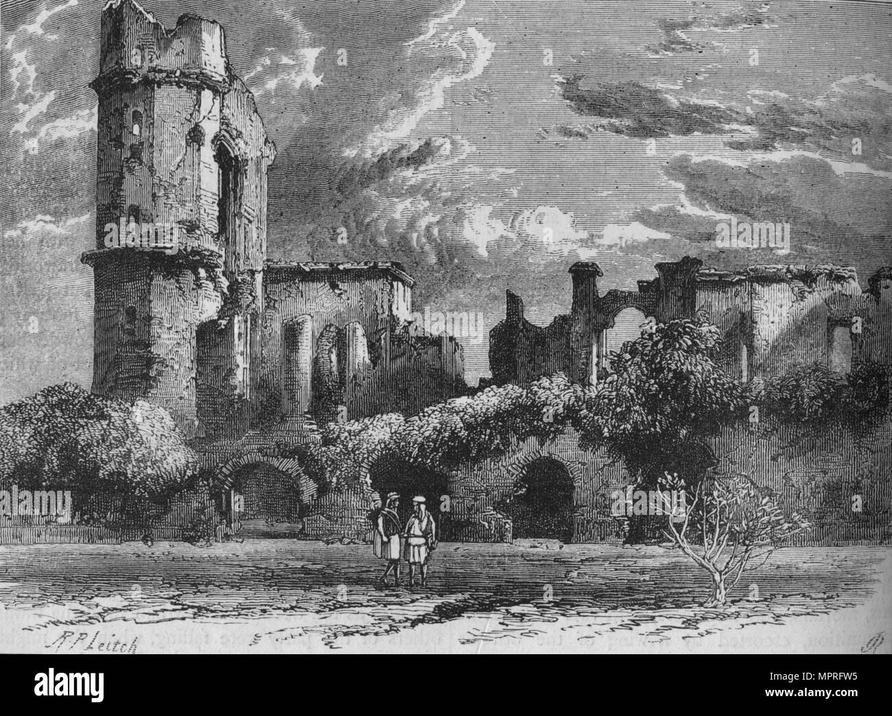 'Ruins of the Residency at Lucknow', c1880. Artist: Richard Principal Leitch. - Stock Image