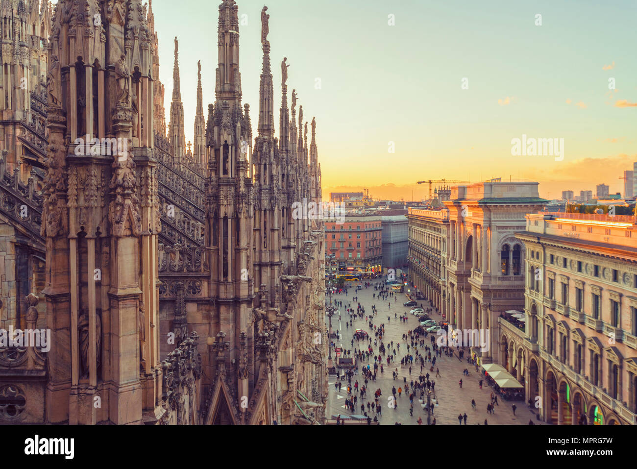 Italy, Lombardy, Milan, Milan Cathedral at sunset Stock Photo