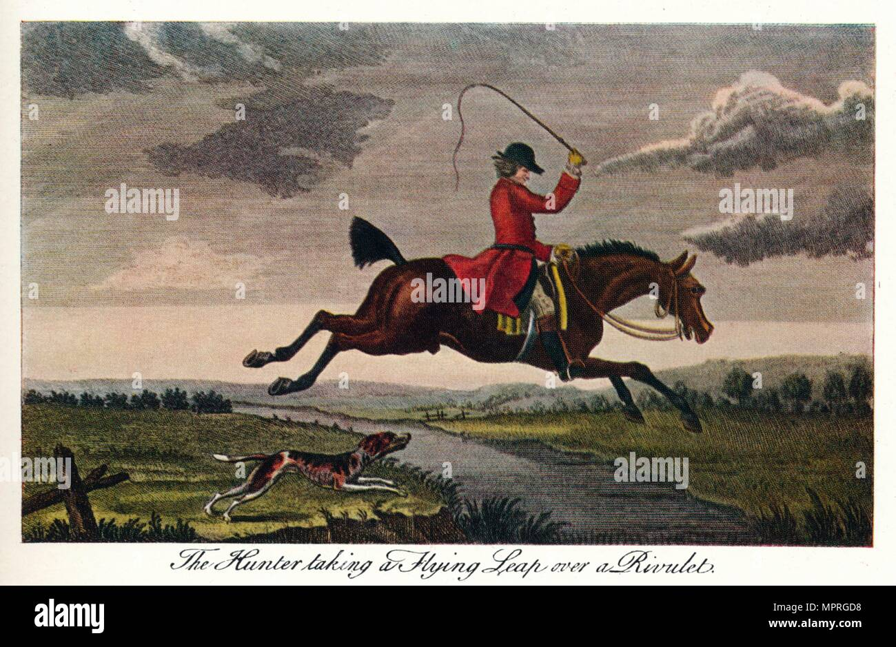'The Hunter Taking A Flying Leap Over A Rivulet', c1740, (1922). Artist: James Seymour. - Stock Image