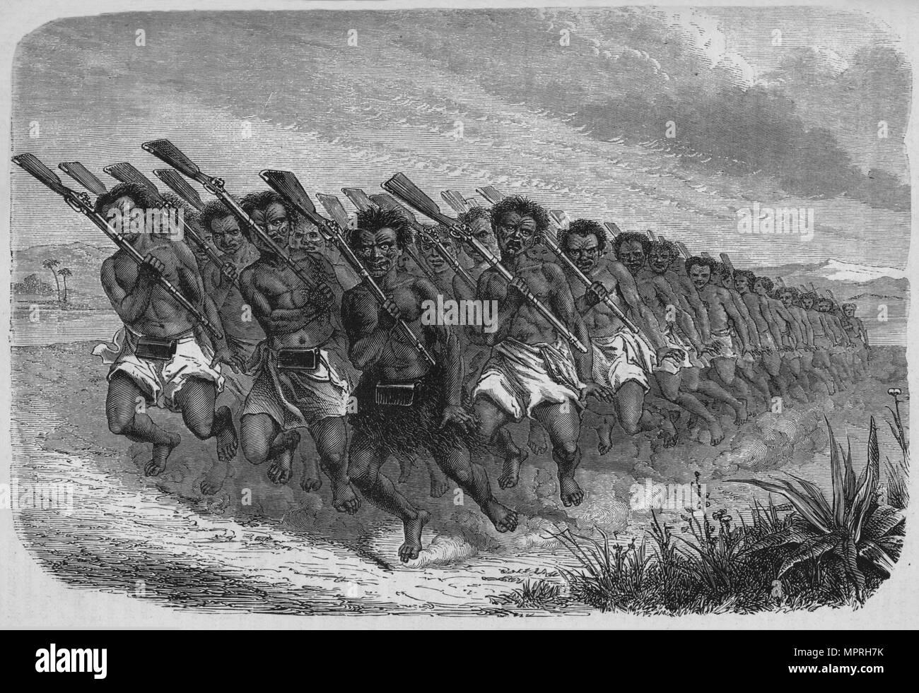 'New Zealand War-Dance', c1880. Artist: Unknown. - Stock Image
