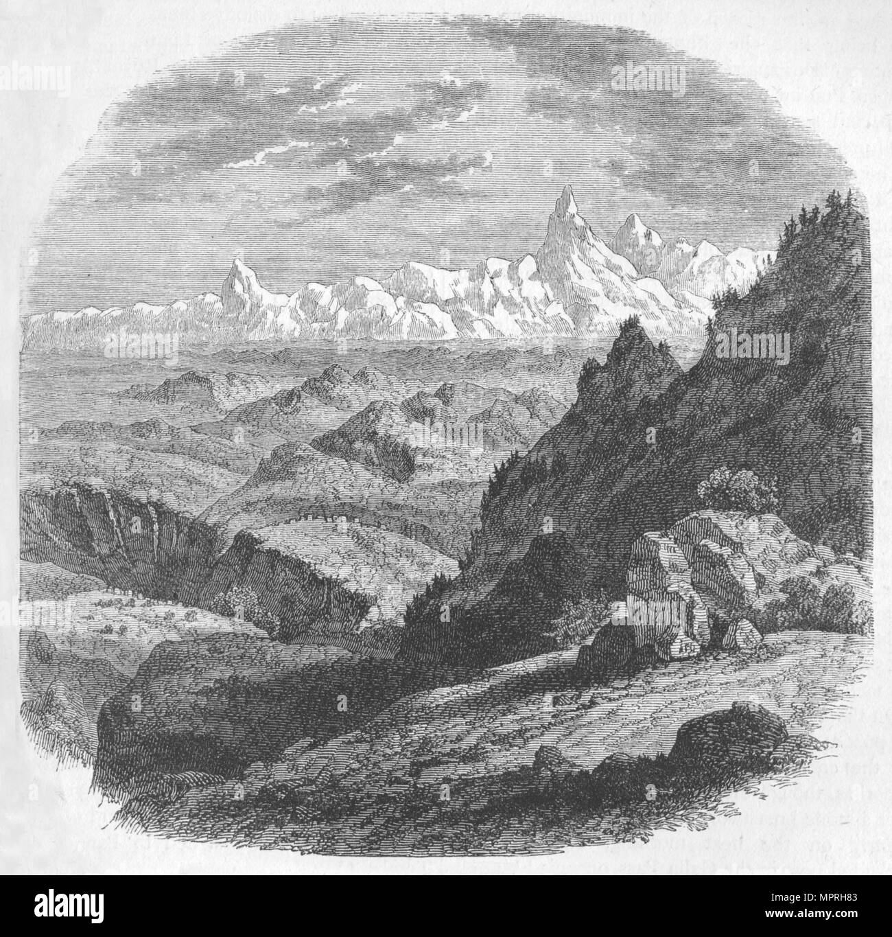 'View of the Himalayan Range', c1880. Artist: Unknown. - Stock Image