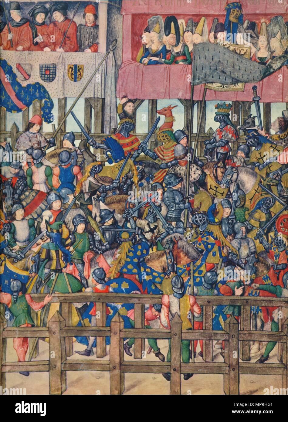 'End of the Tournament at Bruges, March 11, 1392', c15th century, (1937). Artist: Emile- Aurele Van Moe. - Stock Image
