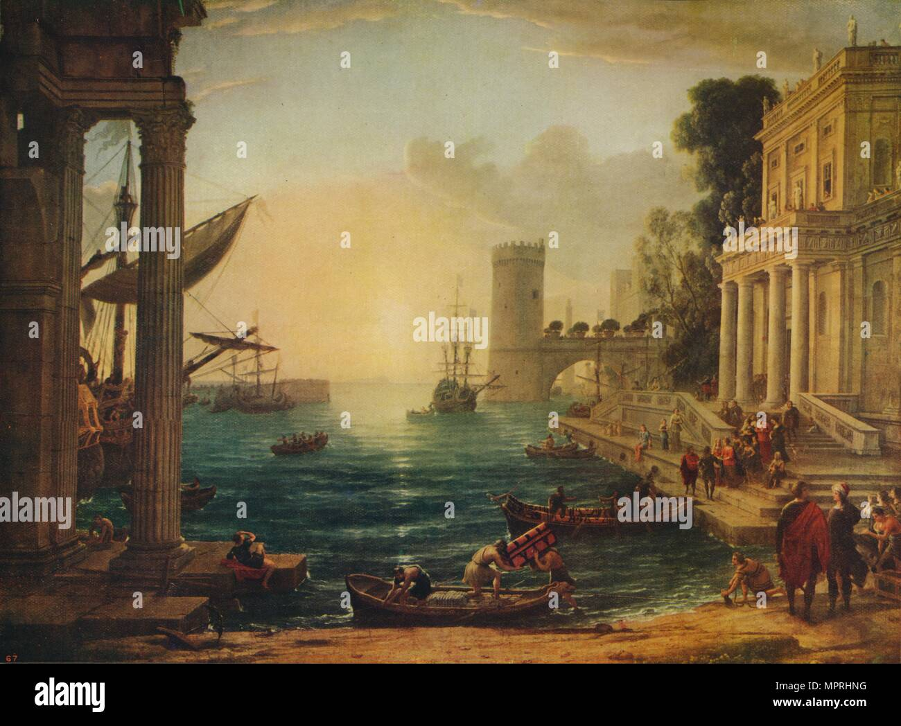 'The Embarkation of the Queen of Sheba', 1648, (c1915). Artist: Claude Lorrain. - Stock Image