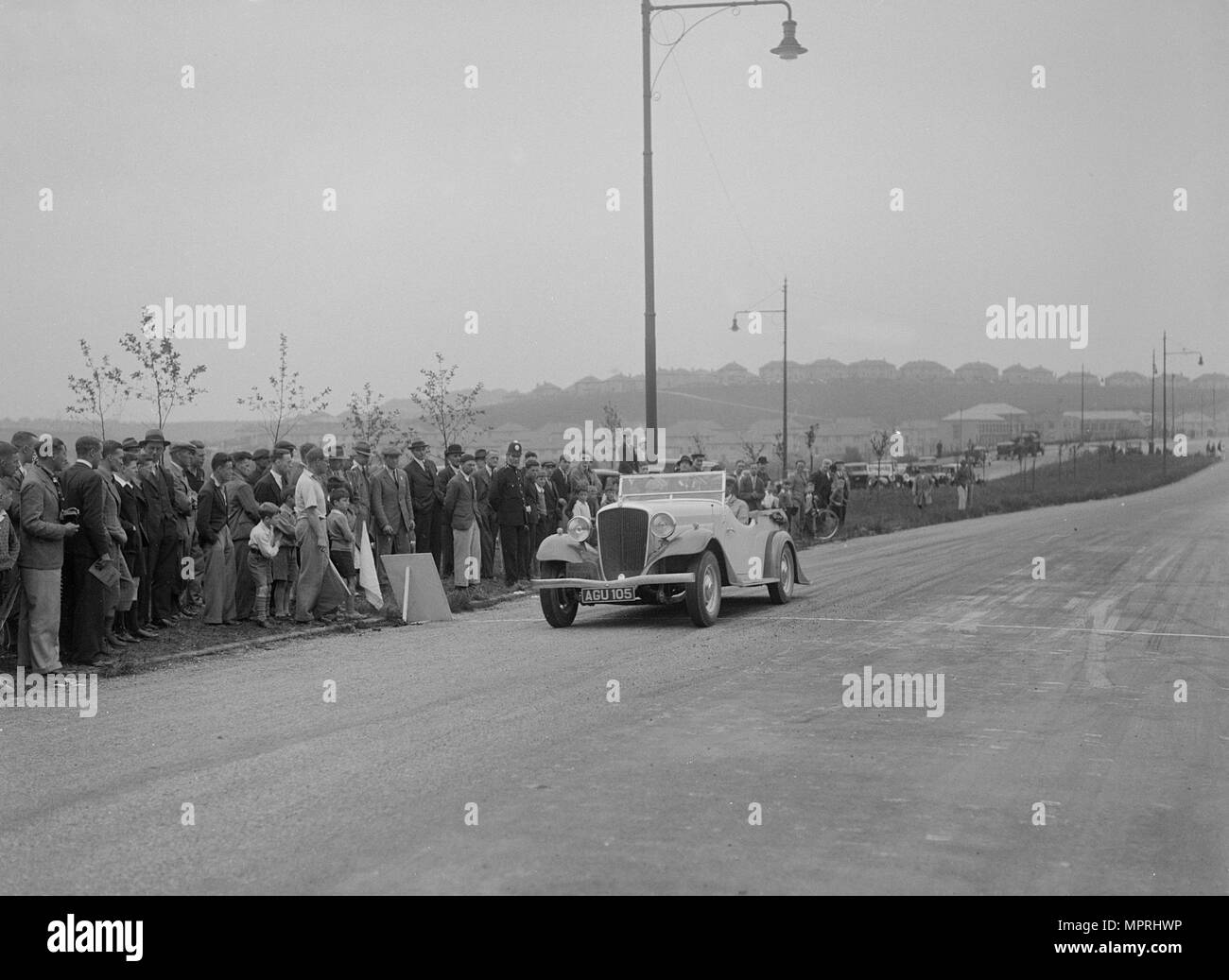 Essex Terraplane of Norman Black competing in the RSAC Scottish Rally, 1933. Artist: Bill Brunell. - Stock Image