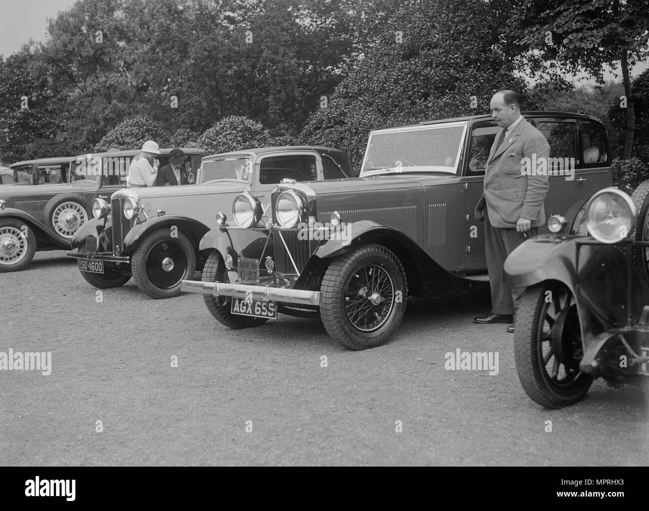 Armstrong-Siddeley, Daimler and Talbot Six Light saloons at the RSAC Scottish Rally, 1933. Artist: Bill Brunell. - Stock Image