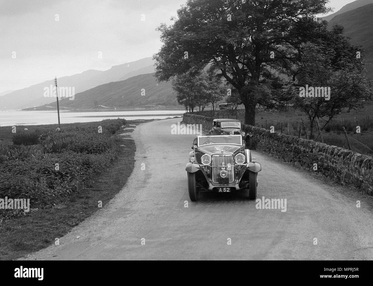Armstrong-Siddeley of CD Siddeley competing in the RSAC Scottish Rally, 1932. Artist: Bill Brunell. - Stock Image