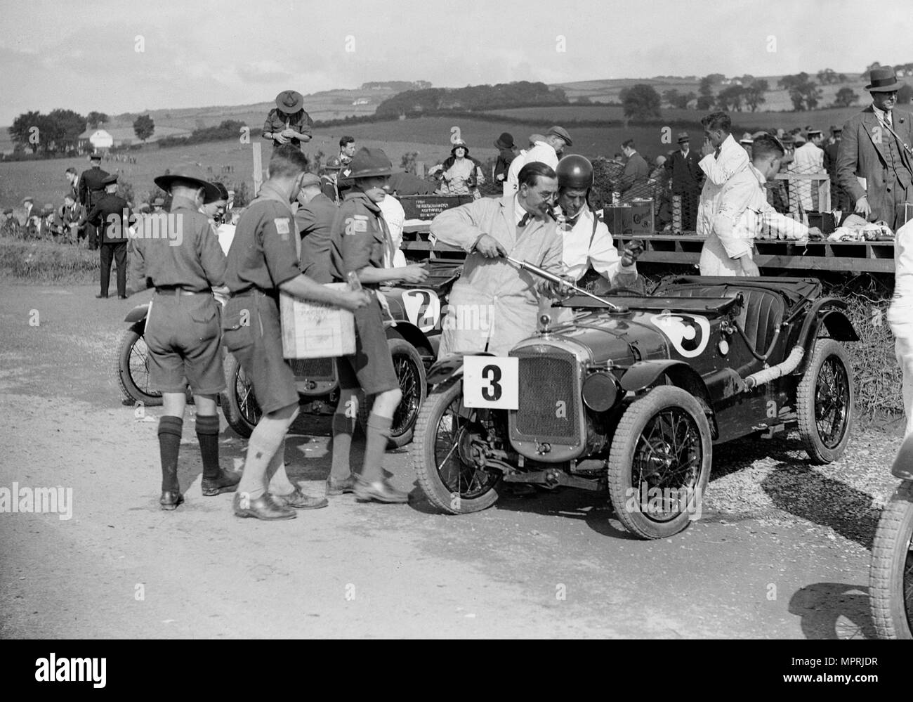 Austin Ulsters of SV Holbrook and GE Caldicutt at the RAC TT Race, Ards Circuit, Belfast, 1929 Artist: Bill Brunell. - Stock Image