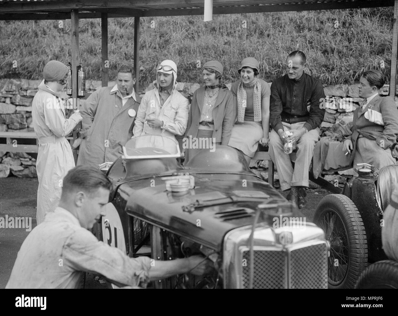MG C type of Cyril Paul in the pits at the RAC TT Race, Ards Circuit, Belfast, 1932. Artist: Bill Brunell. - Stock Image