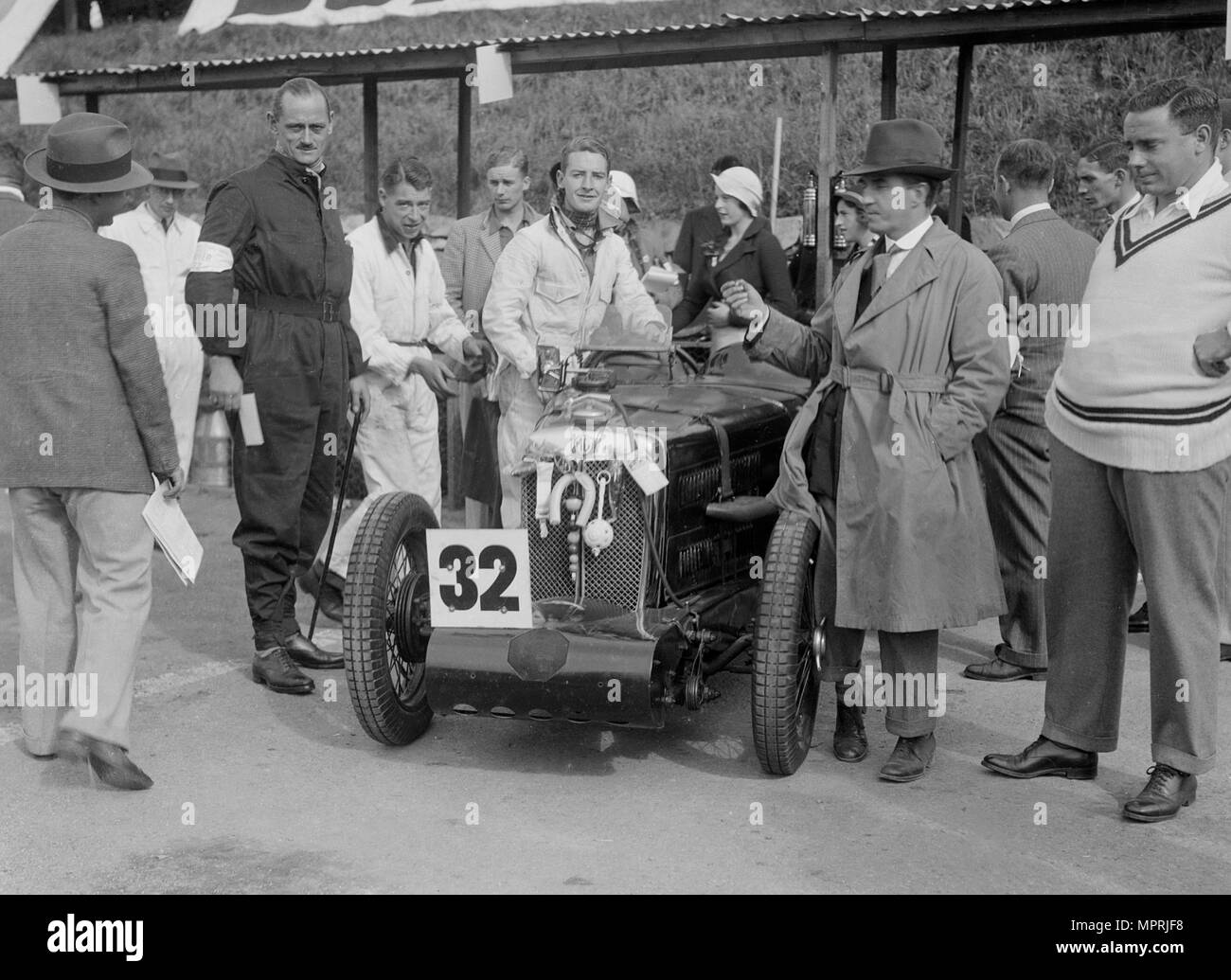 MG C type of Goldie Gardner at the RAC TT Race, Ards Circuit, Belfast, 1932. Artist: Bill Brunell. - Stock Image