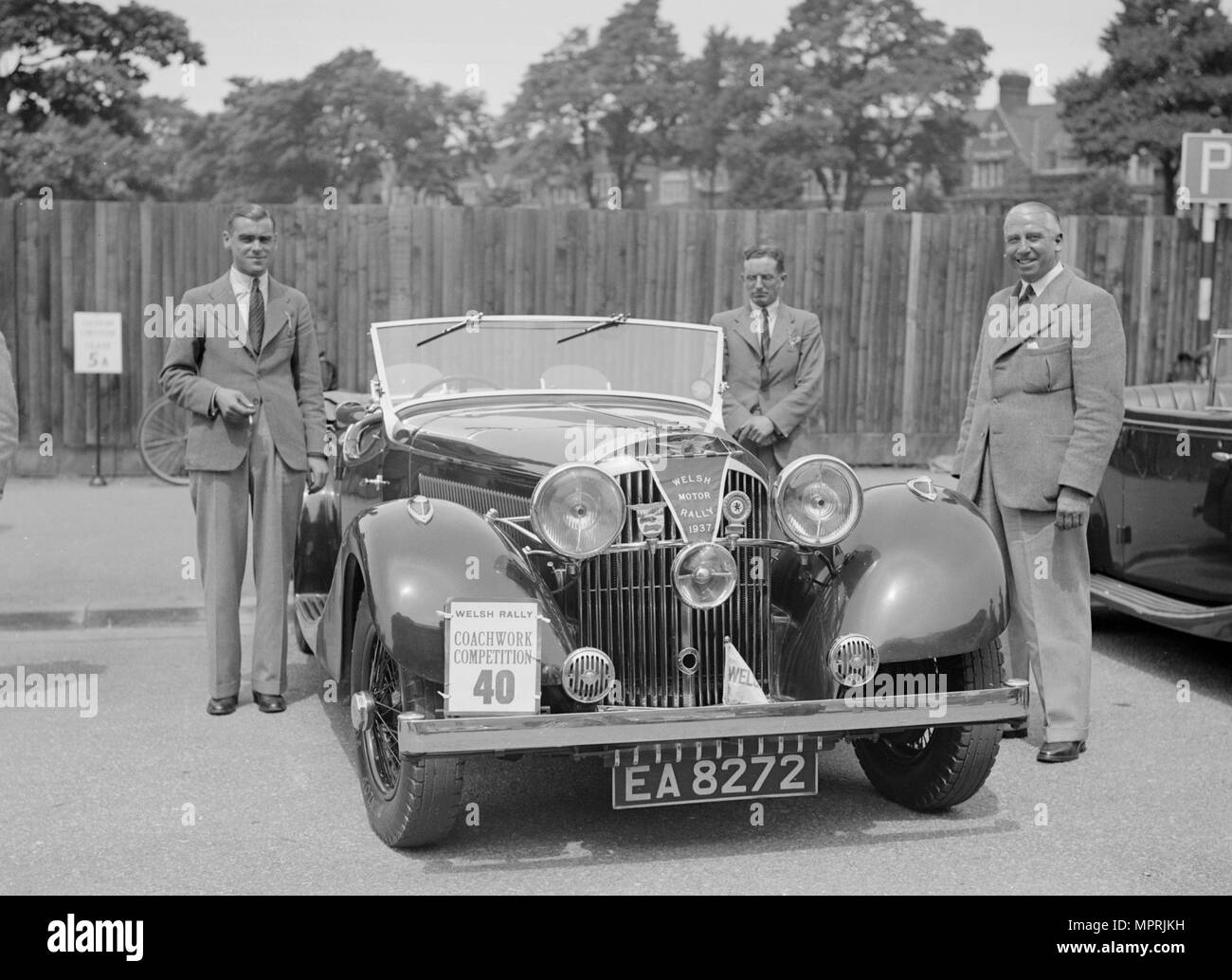 Jensen open 4-seater of Ken Crawford at the South Wales Auto Club Welsh Rally, 1937 Artist: Bill Brunell. - Stock Image