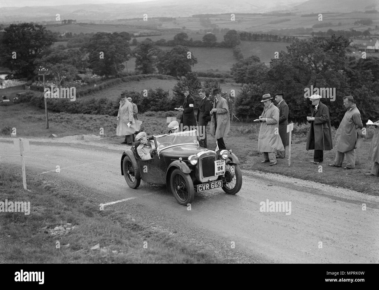 Austin 7 Nippy of DN Kennedy competing in the South Wales Auto Club Welsh Rally, 1937 Artist: Bill Brunell. - Stock Image