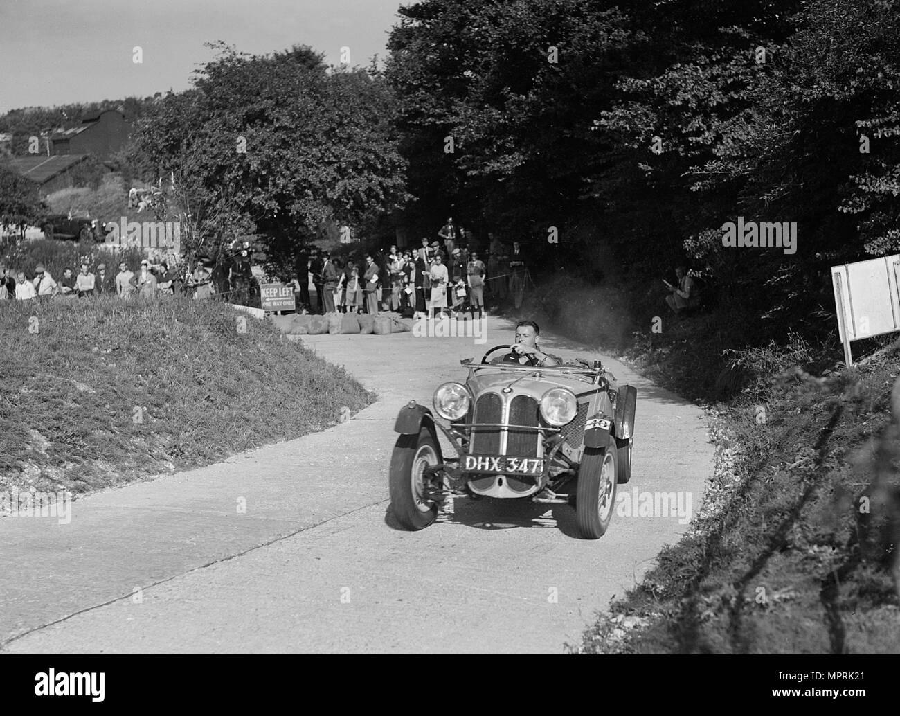 Frazer-Nash BMW 319/55 of CG Fitt competing in the VSCC Croydon Speed Trials, 1937. Artist: Bill Brunell. - Stock Image