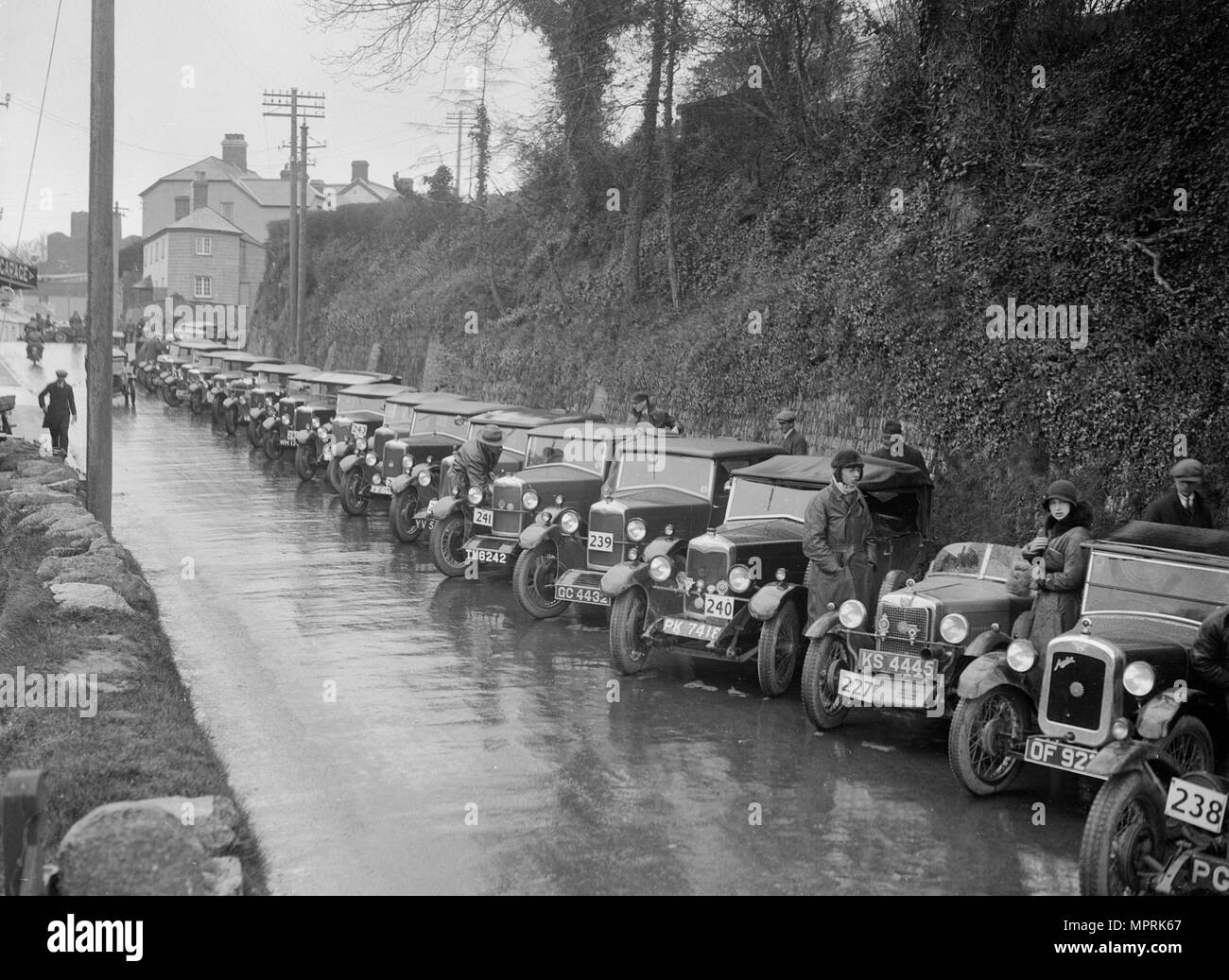 Cars parked at the MCC Lands End Trial, Launceston, Cornwall, 1930. Artist: Bill Brunell. - Stock Image