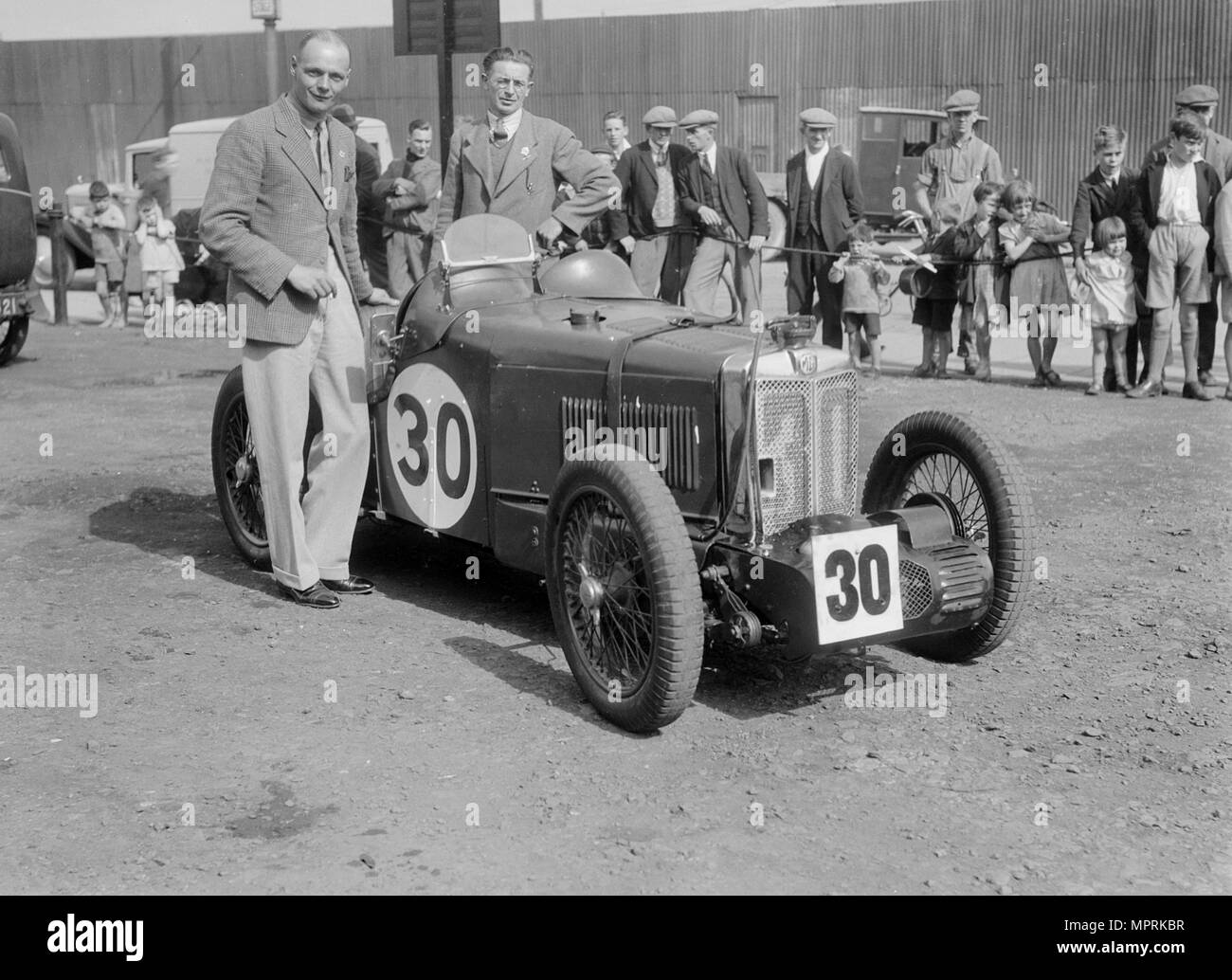 MG C type Midget of Frank Stanley Barnes at the RAC TT Race, Ards Circuit, Belfast, 1932. Artist: Bill Brunell. - Stock Image