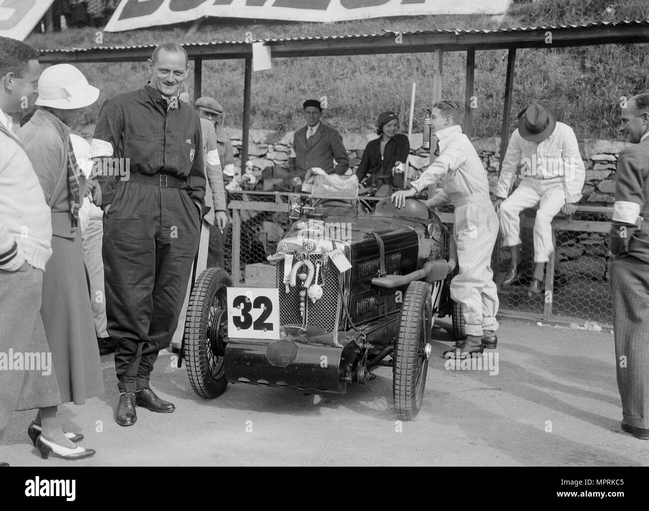 MG C type Midget of Goldie Gardner at the RAC TT Race, Ards Circuit, Belfast, 1932. Artist: Bill Brunell. - Stock Image