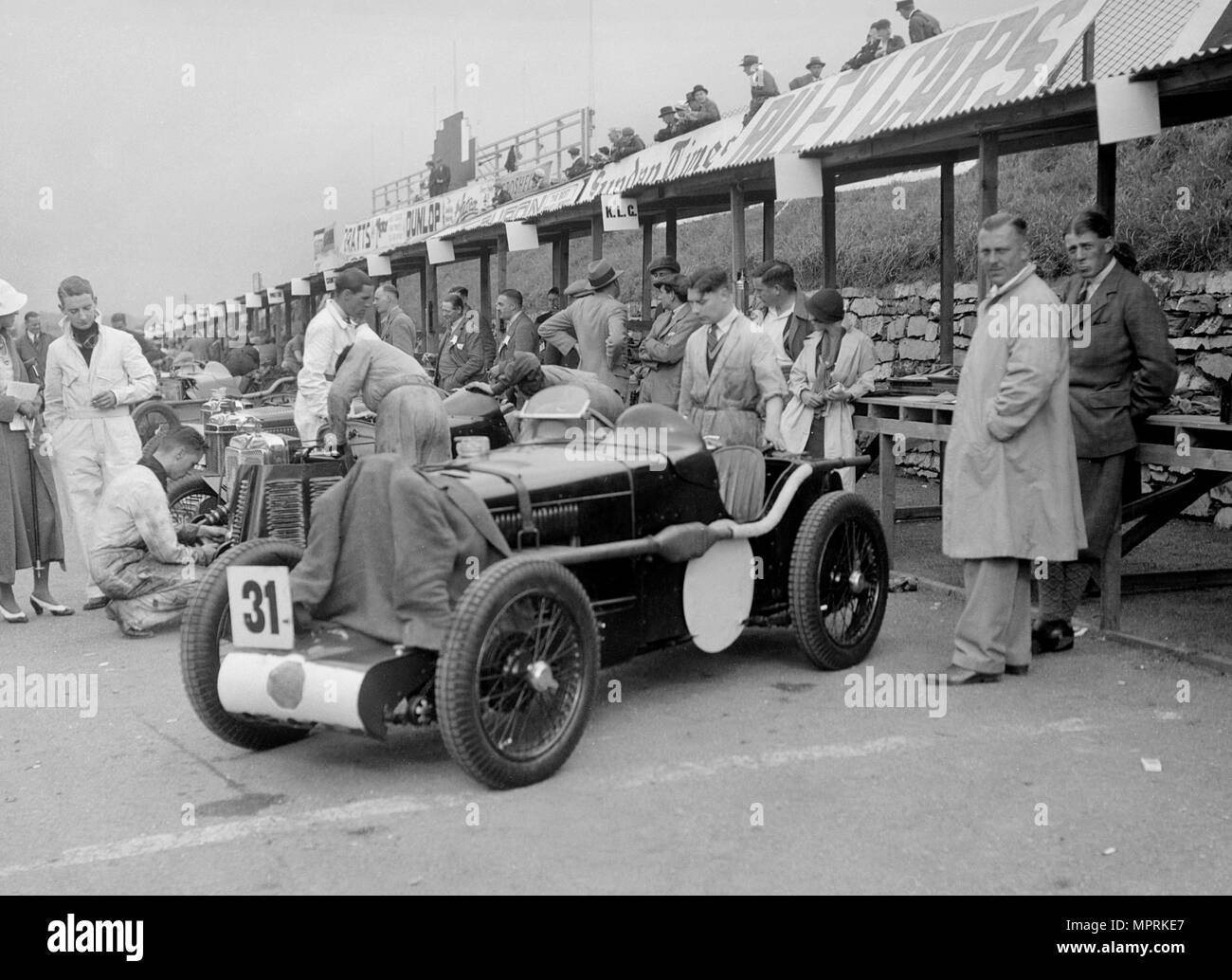 MG C type Midget of Cyril Paul in the pits at the RAC TT Race, Ards Circuit, Belfast, 1932. Artist: Bill Brunell. - Stock Image