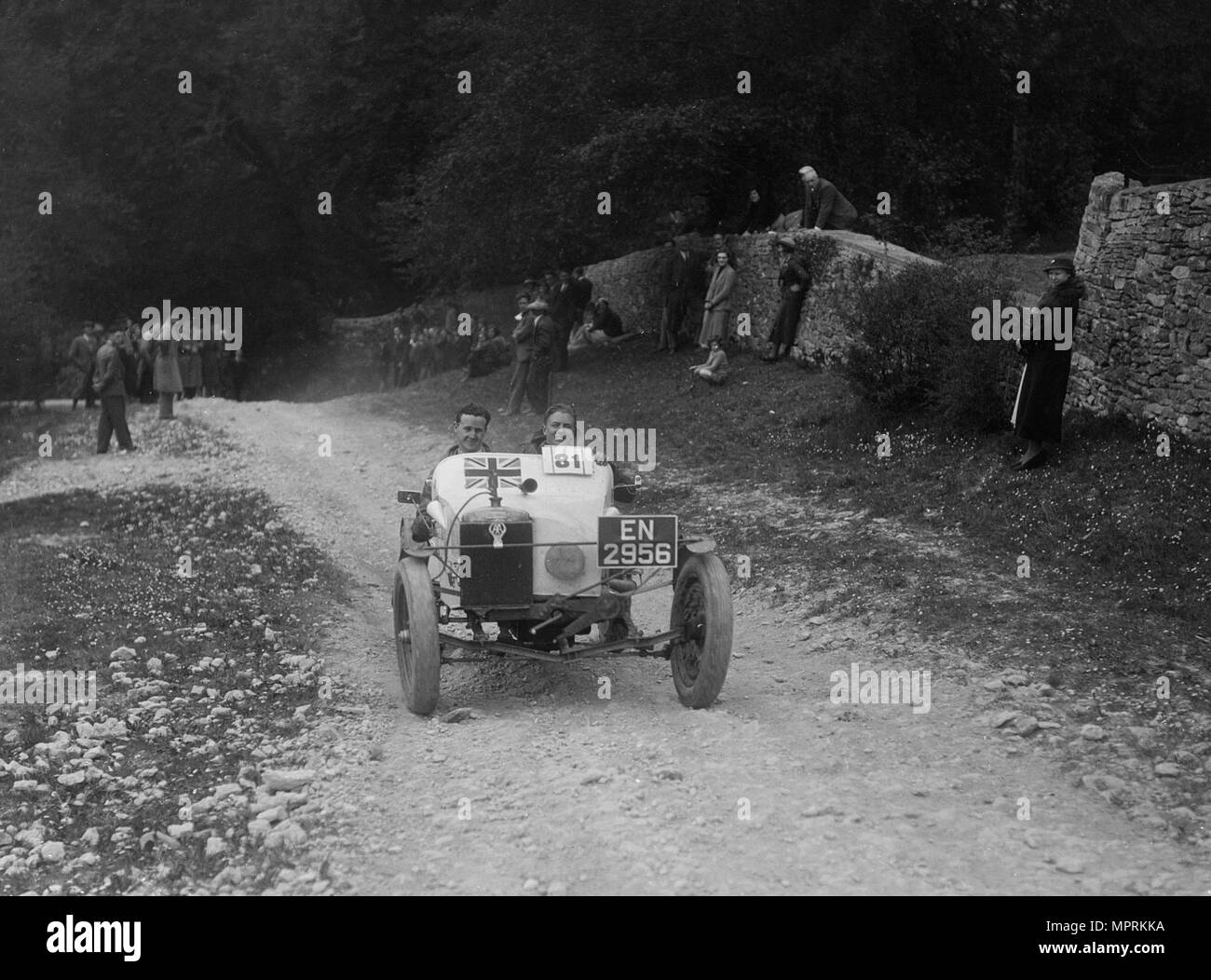 Special trials car competing in a motoring trial, Nailsworth Ladder, Gloucestershire, 1930s.. Artist: Bill Brunell. - Stock Image