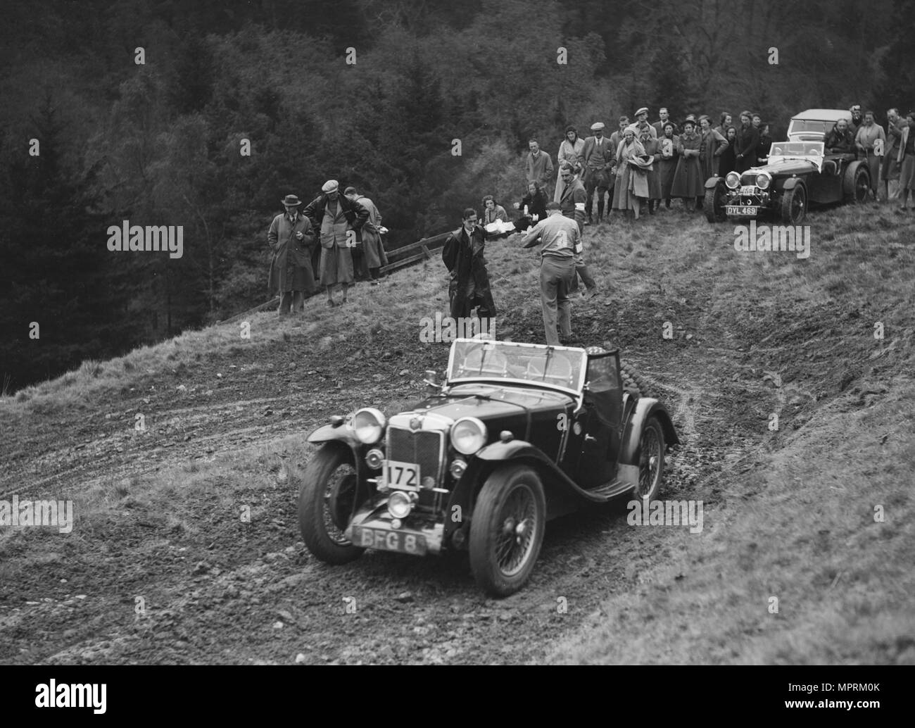 MG PA of D Clare competing in the MCC Edinburgh Trial, Roxburghshire, Scotland, 1938. Artist: Bill Brunell. - Stock Image